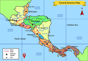 Detail Of Central America Map Vector