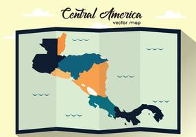 Folded Central America Vector Map