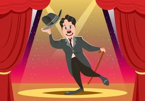Charlie Chaplin Auf Bühnenvektor