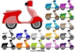 Scooter Flat ícones coloridos - Vector