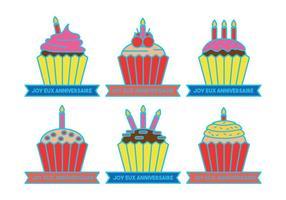 Anniversaire cupcake celebración de vectores