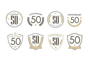 50th Years Anniversary Badges vector