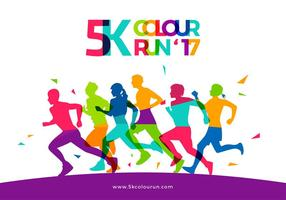 5K Color Run Template Gratis Vector