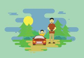 Dad And Child Playing RC Car Illustration