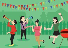 Les jeunes gens à un bloc de vecteur de fête