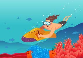 Cena subaquática do vetor do esqui do jato