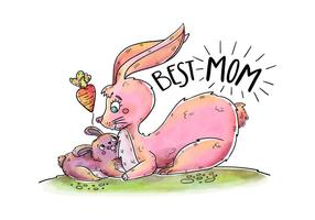 Cute Bunny Mom And Son With Lettering And Heart's Carrot