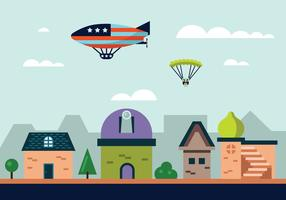 Hot Air Balloon Blimp Vector Illustration