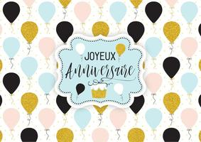 Festligt Joyeux Anniversaire Ballonger Vector Card