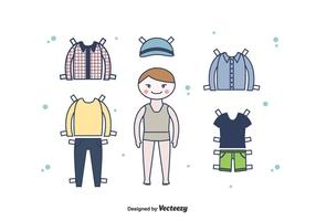 Dress Up Paper Doll Boy Vector