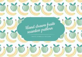 Vector Hand Drawn Banana and Apple Seamless Pattern