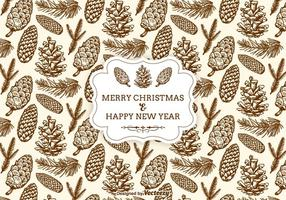Hand-drawn-christmas-pine-cones-seamless-pattern