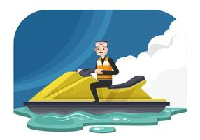 Man På En Jet Ski Vektor Illustration