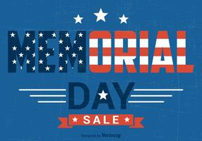 Memorial Day Sale Vector Retro Poster