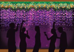 Party People with a Floral Wisteria Background Vector