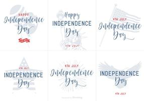Happy Independence Day Hand Drawn Lettering Vector Posters