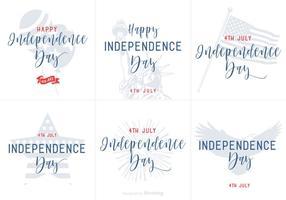 Joyeuses cartes postales dessins à main tirées à la main de l'Indépendance