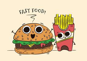 Cute Burger And Fries Character Fast Food vecteur