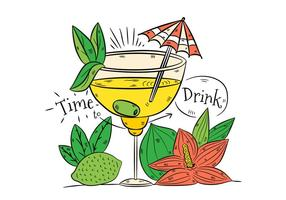 Hand drawn Yellow Cocktail Drink With Lime And Flower vector