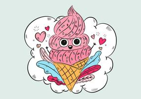 Cute Ice Cream Cone With Leaves Heart And Clouds