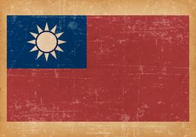 Grunge flagga av Taiwan