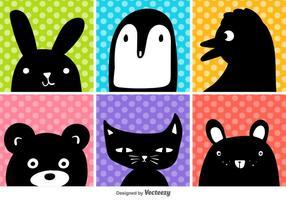 Vector animales de dibujos animados cabeza conjunto