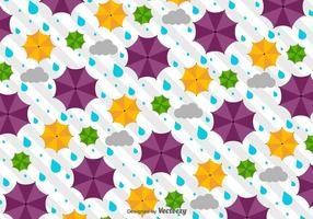 Vector patrón de tiempo con paraguas