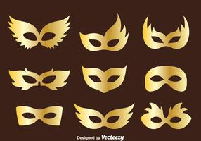 Golden Masquerade Mask Collection Vector