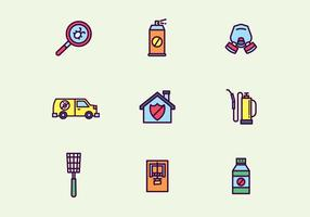 Colorido Esboçado Pest Control Icons