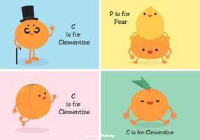 Cute Cartoon Clementine Characters And Faces Vector Set