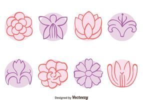 Colección de flores de bosquejo de vectores