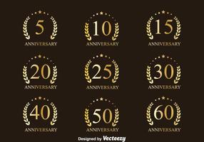 Golden Anniversary Badge Collection Vectors