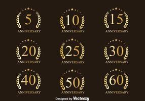 Dourado, aniversário, emblema, cobrança, vetores