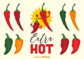 Extra Hot Chili Pepper And Habanero Vectors