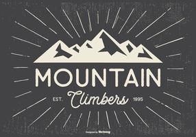 Ilustração retro tipográfica dos montanhistas de Mountian