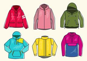 Colorful Winbreaker Jacket Sketch Vector Illustration