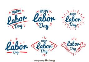 Handgezeichnete Labor Day Badge Vectors