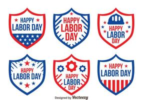 Bouclier Badge Labor Day Vectors