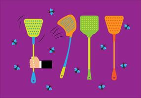 Colorful Fly Swatter and Flies Vectors