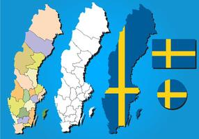 Sverige Map Vector Set