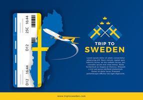 Carte de la Suède et Voyage pour le vecteur Ticket