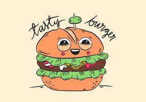 Cute Character Burger Smiling With Quote vector