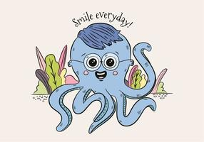 Cute Blue Octopus Character Wearing Glasses And Saying Smile vecteur
