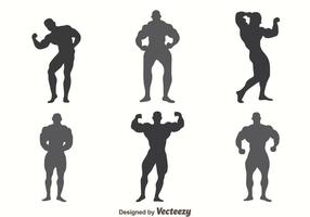 Body Building SIlhouette Vectors