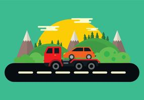 Tow Truck In The Mountains Vector