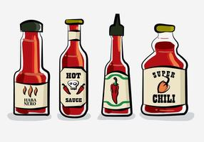 Hot-chili Sauce Bottle Habanero Illustration Vecteur