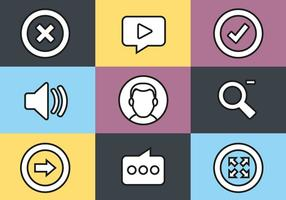 Free Flat Design Media Vector Icon Set