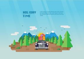 Lycklig Holiday Carpool Vector Flat Illustration