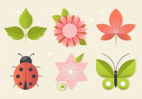 Elementos florales libres del saludo del vector