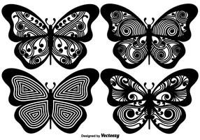 Vector Ornamented Butterfly Silhouettes